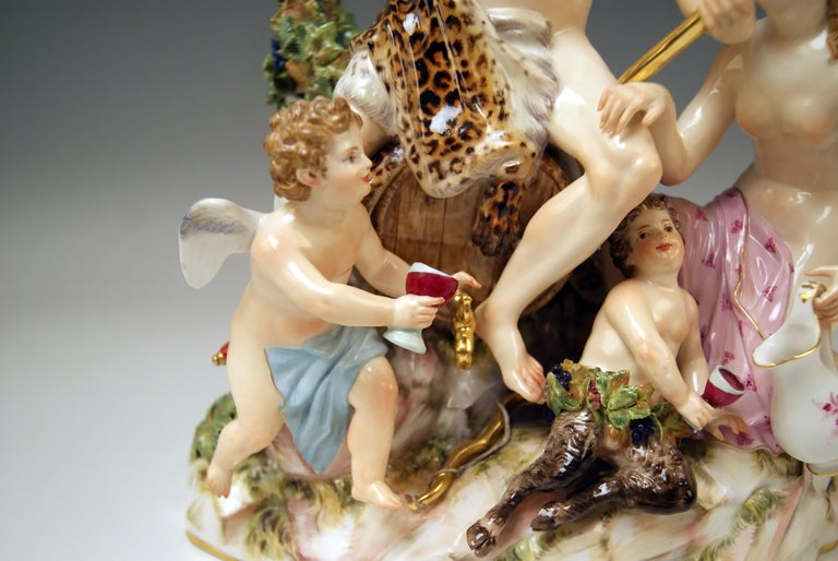 Meissen Figurines With Bacchus Cupid Satyr Nymph By E A
