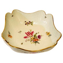 Meissen Four Cornered Deep Serving Bowl from the 1880s with Five Flower Bouquets