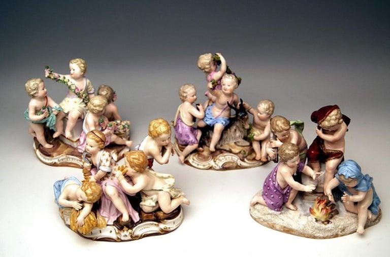 Rococo Meissen Four Seasons Figurines by Kaendler, circa 1850 For Sale