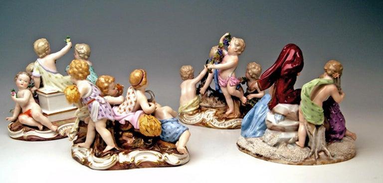 Porcelain Meissen Four Seasons Figurines by Kaendler, circa 1850 For Sale