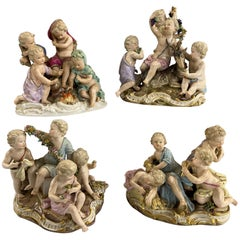 "Meissen ""Four Seasons"" Set of 4 Porcelain Cherub Figurines, Kaendler circa 1850s"