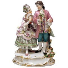 Meissen Gallant Couple Rococo Garments August Ringler Model O 158 Made 1956