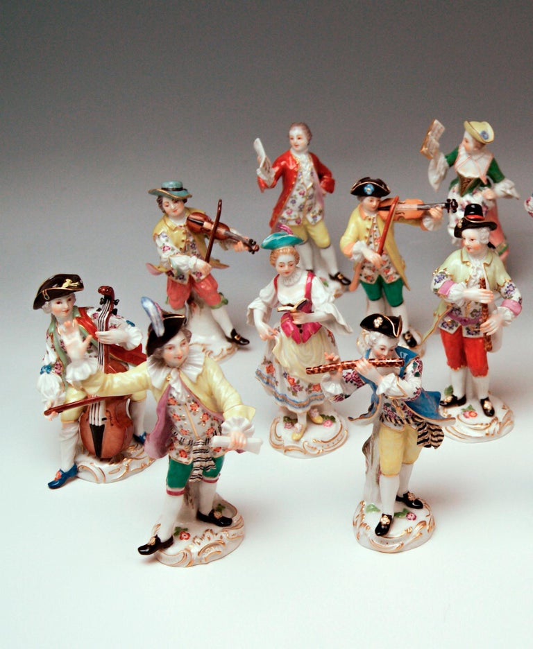 Meissen gorgeous group of figurines 'GALLANT ORCHESTRA', once created by Johann Joachim Kaendler (1706-1775) and Friedrich Elias Meyer (1723-1785): 16 figurines  Size: Average height of figurines: circa 13.5 - 16.0 cm / 5.31 - 6.29