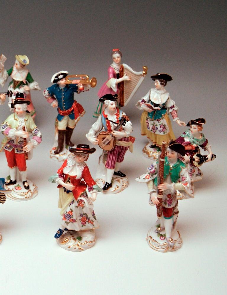 Rococo Meissen Gallant Orchestra Complete Figurines Johann Kaendler Friedrich E. Meyer For Sale