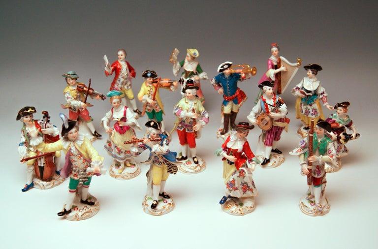 German Meissen Gallant Orchestra Complete Figurines Johann Kaendler Friedrich E. Meyer For Sale