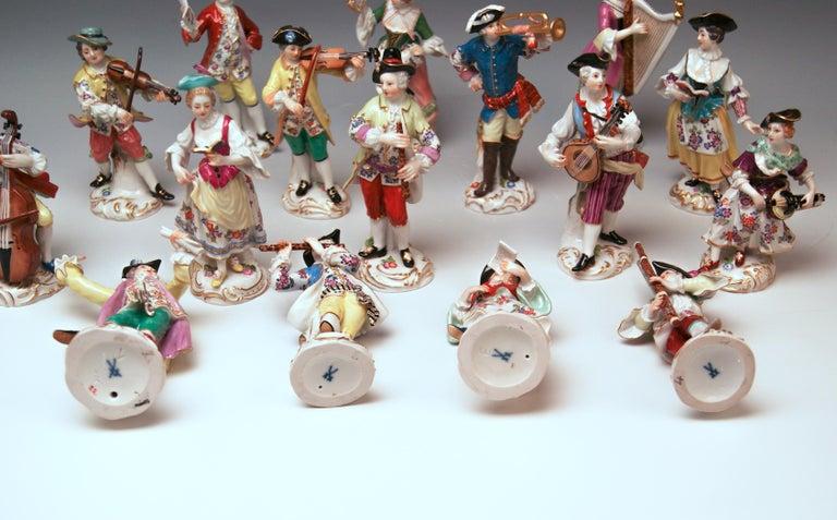 20th Century Meissen Gallant Orchestra Complete Figurines Johann Kaendler Friedrich E. Meyer For Sale
