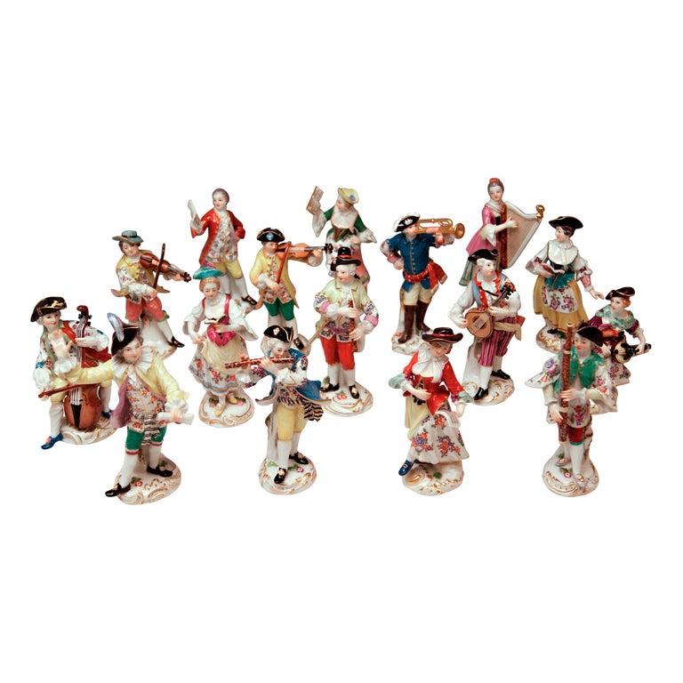 Meissen Gallant Orchestra Complete Figurines Johann Kaendler Friedrich E. Meyer For Sale
