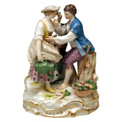 Meissen Gardener Couple Rococo Garments by Acier Model B 28 Made circa 1870