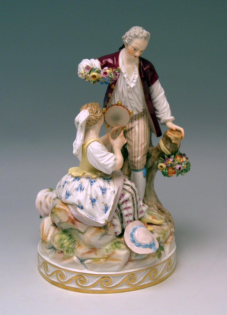 Meissen most lovely group of Gardener figurines with tambourine (Gardener Musicians).