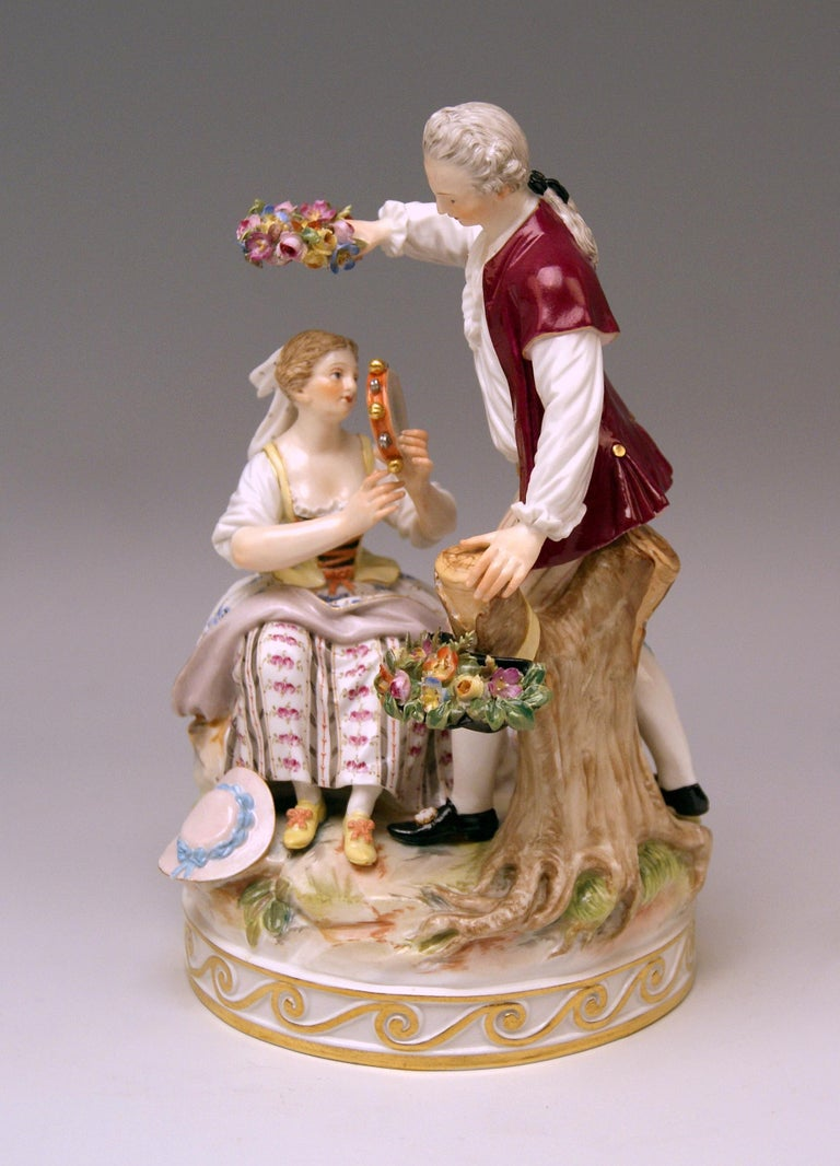 Rococo Meissen Gardener Couple with Tambourine by Acier Model D 86 made circa 1870