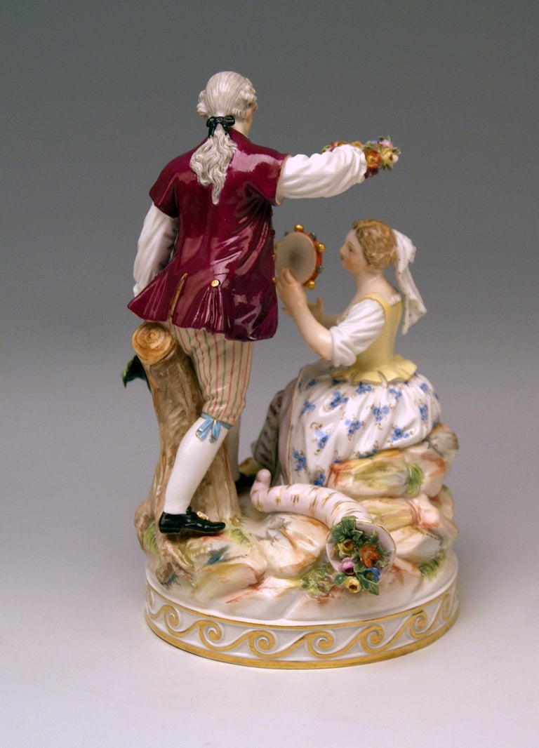 German Meissen Gardener Couple with Tambourine by Acier Model D 86 made circa 1870