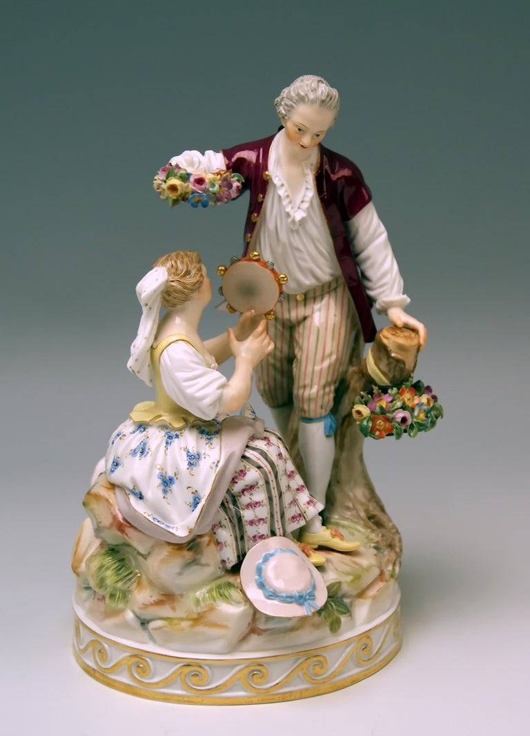 Painted Meissen Gardener Couple with Tambourine by Acier Model D 86 made circa 1870