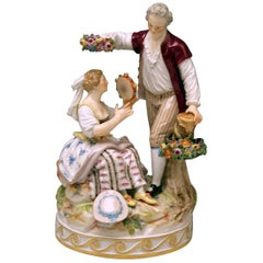 Meissen Gardener Couple with Tambourine by Acier Model D 86 made circa 1870