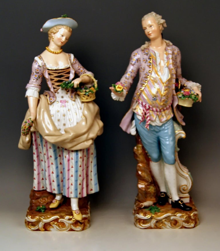 Meissen most remarkable tall figurine group: Pair of gardeners  Measures / Dimensions: Height: 19.68 inches / 50.0 cm (male gardener) Height: 19.29 inches / 49.0 cm (female gardener) Width: 5.90 inches / 15.0 cm Depth: 7.48 inches / 19.0