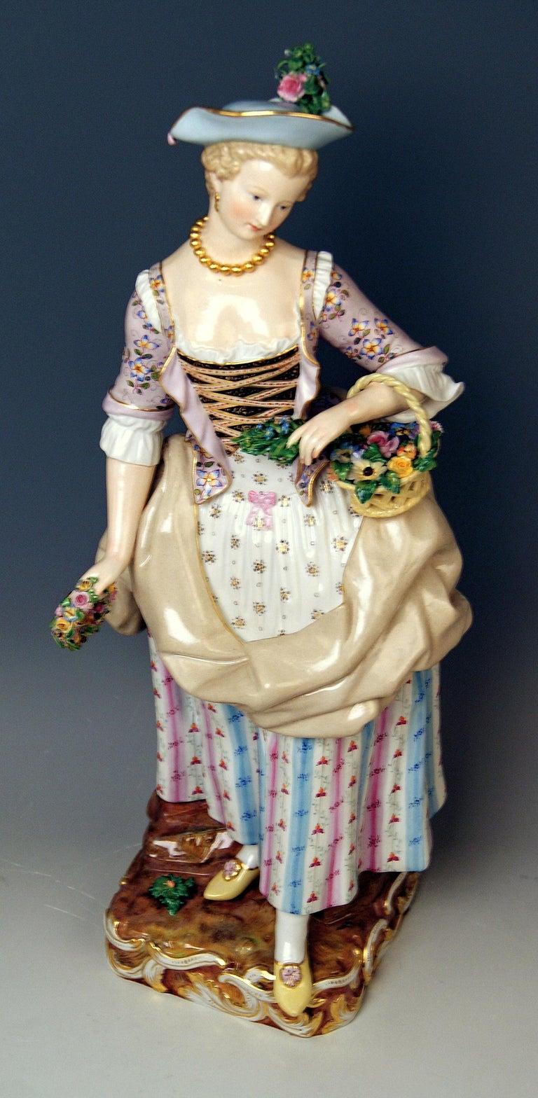 Rococo Meissen Gardeners Couple Male Female Models 2868 B 65 Kaendler Schoenheit, 1870 For Sale