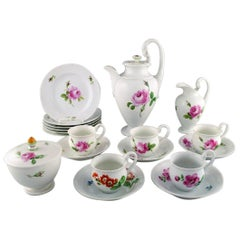 Meissen, Germany, Pink Rose Coffee Service for Five People in Porcelain