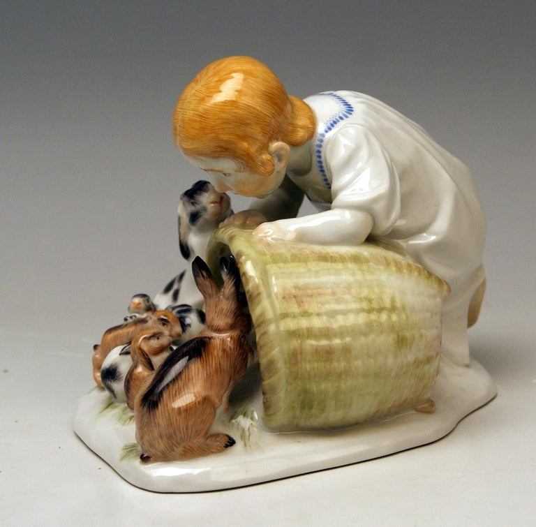 Art Nouveau Meissen Girl with Rabbits Model 73441 Z 148 Max Bochmann Made 20th Century For Sale
