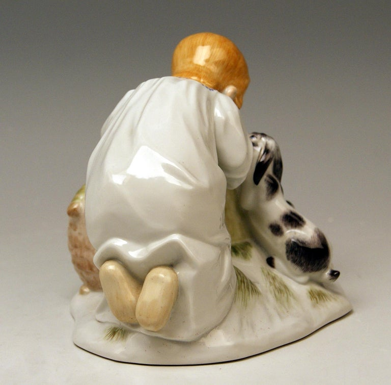 German Meissen Girl with Rabbits Model 73441 Z 148 Max Bochmann Made 20th Century For Sale