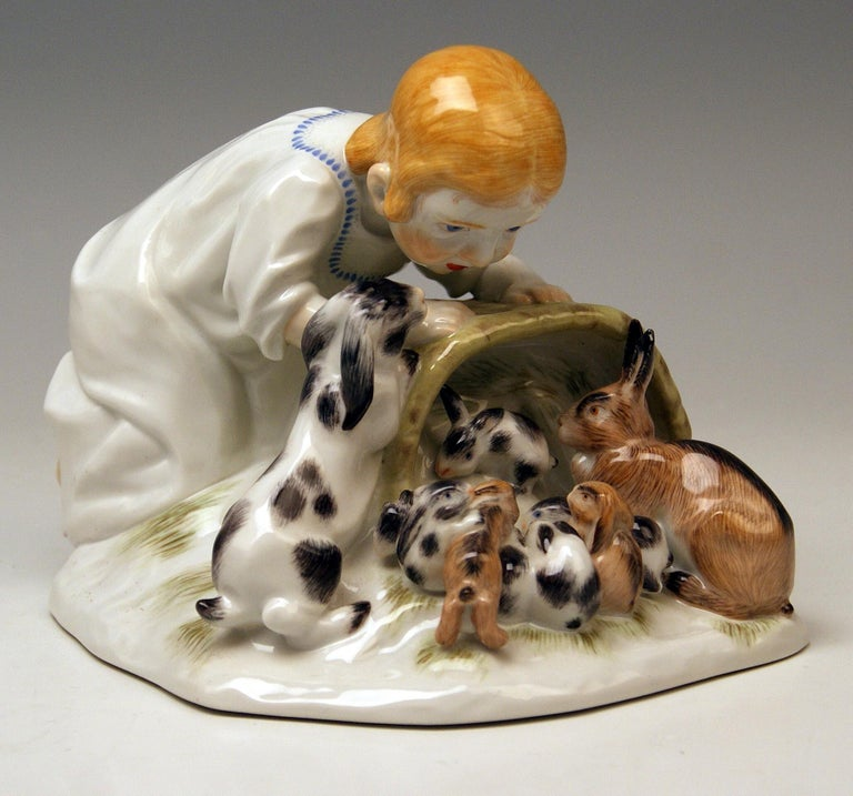 Painted Meissen Girl with Rabbits Model 73441 Z 148 Max Bochmann Made 20th Century For Sale