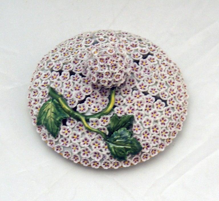 Porcelain Meissen Goblet Lidded Vase with Snowball Pattern and Snake Handles Made For Sale