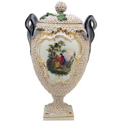 Meissen Goblet Lidded Vase with Snowball Pattern and Snake Handles Made