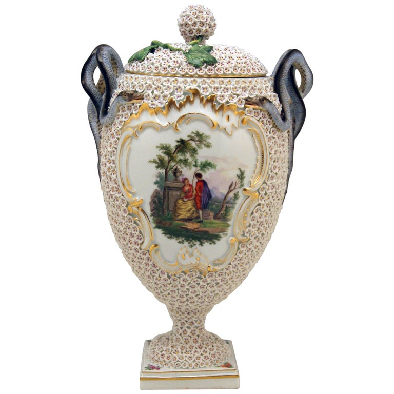 Meissen Goblet Lidded Vase with Snowball Pattern and Snake Handles Made For Sale