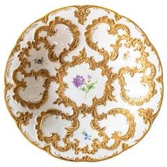 Meissen Gold and Floral Decor Porcelain Plate