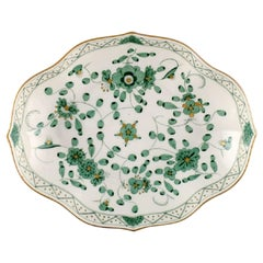 Meissen Green Indian Bowl in Hand Painted Porcelain with Green Floral Motifs