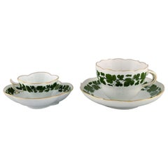 Meissen Green Ivy Vine Leaf Mocha and Tea Cup in Hand-Painted Porcelain