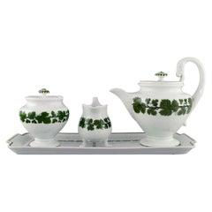 Meissen Green Ivy Vine Leaf, Teapot, Sugar Bowl, Cream Jug and Serving Tray