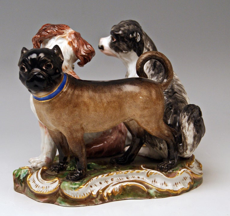 MEISSEN MOST LOVELY ANIMAL FIGURINES: GROUP OF THREE DOGS