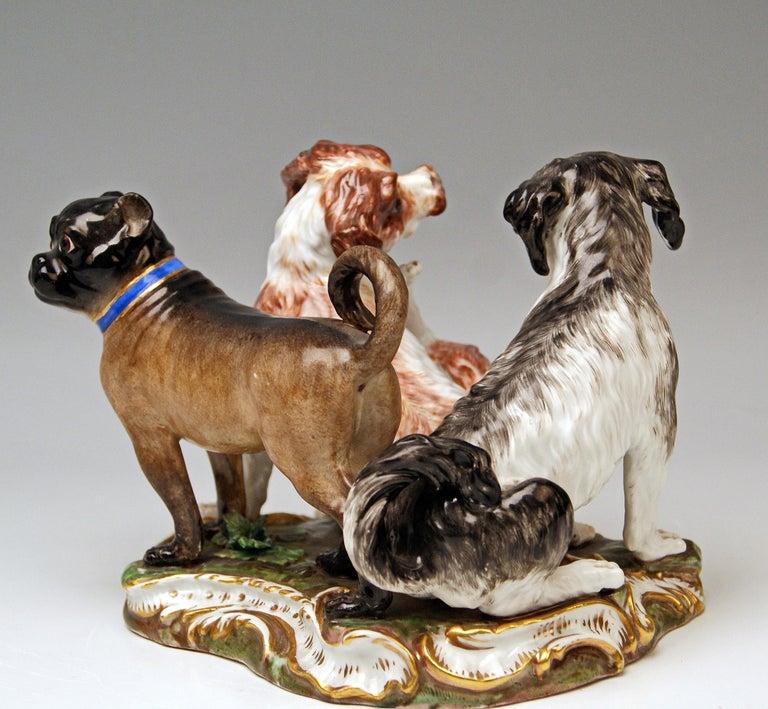 Rococo Meissen Group of Three Dogs Model 2104, Johann Joachim Kaendler circa 1830-1840 For Sale