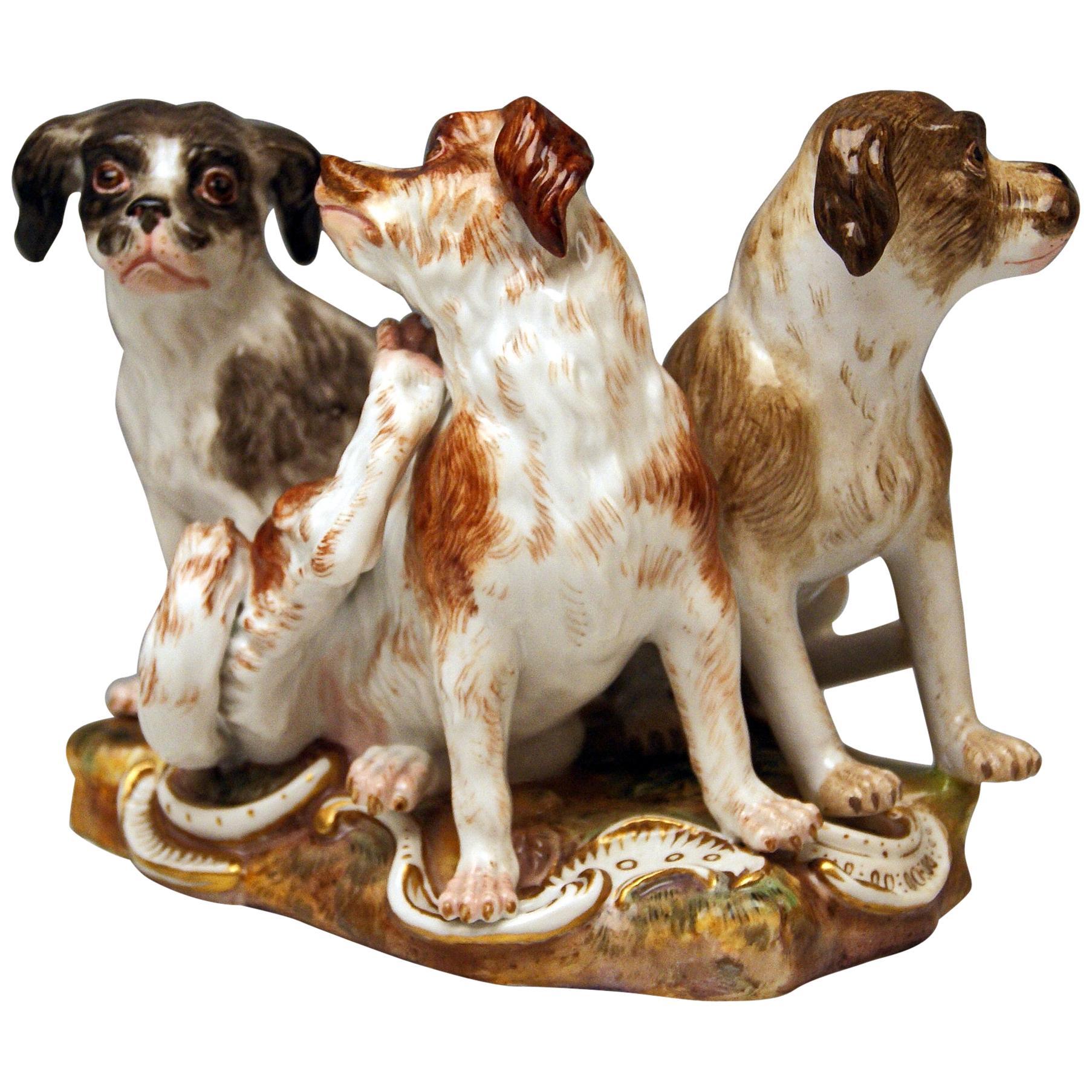 Meissen Group of Three Dogs Model 2104 by Johann Joachim Kaendler