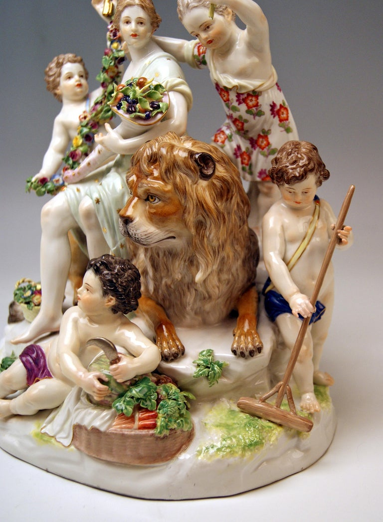 Meissen Group Six Figurines Allegory of Earth by Acier Model D 83 For Sale 2