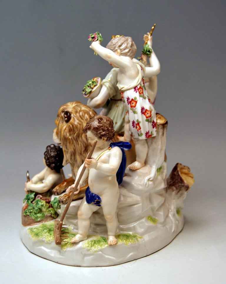 Rococo Meissen Group Six Figurines Allegory of Earth by Acier Model D 83 For Sale