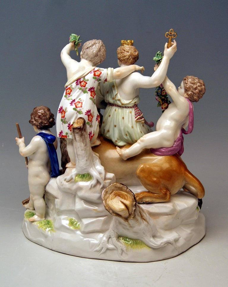 German Meissen Group Six Figurines Allegory of Earth by Acier Model D 83 For Sale