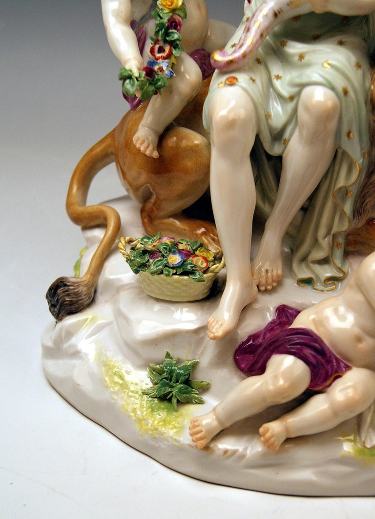 Late 19th Century Meissen Group Six Figurines Allegory of Earth by Acier Model D 83 For Sale
