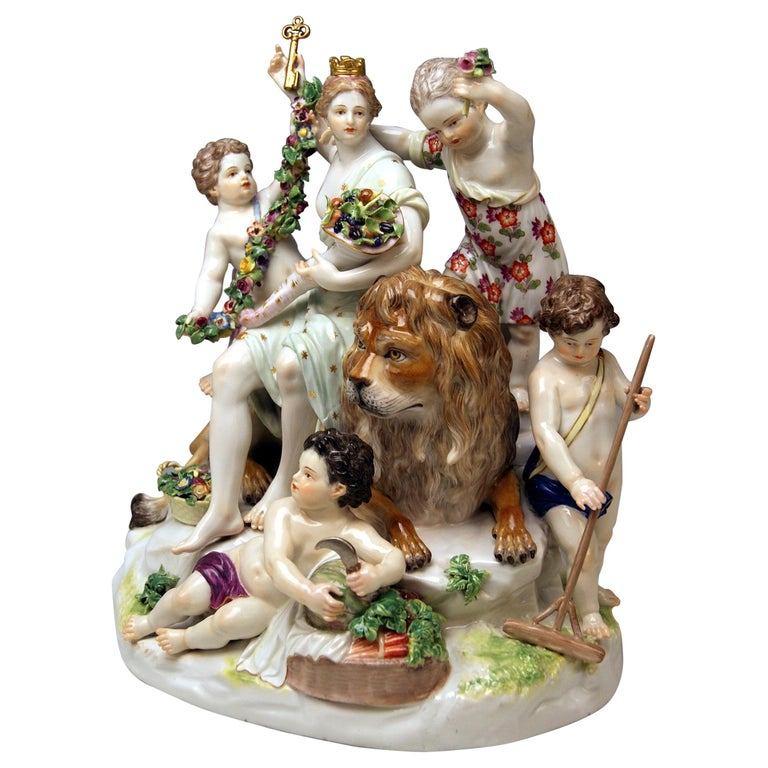 Meissen Group Six Figurines Allegory of Earth by Acier Model D 83 For Sale