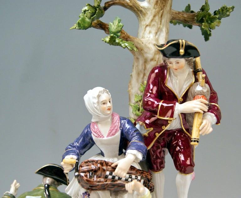 Rococo Meissen Group Six Figurines Gardeners Musicians, Acier Model D 96, circa 1870 For Sale