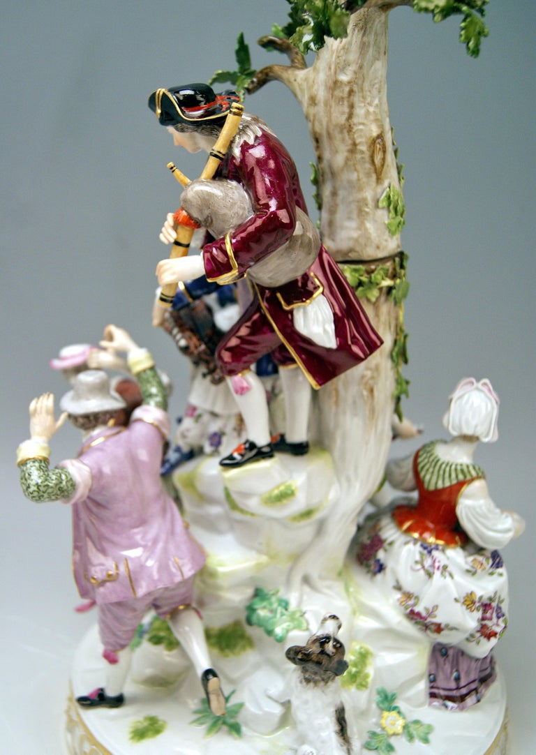 Meissen Group Six Figurines Gardeners Musicians, Acier Model D 96, circa 1870 In Good Condition For Sale In Vienna, AT