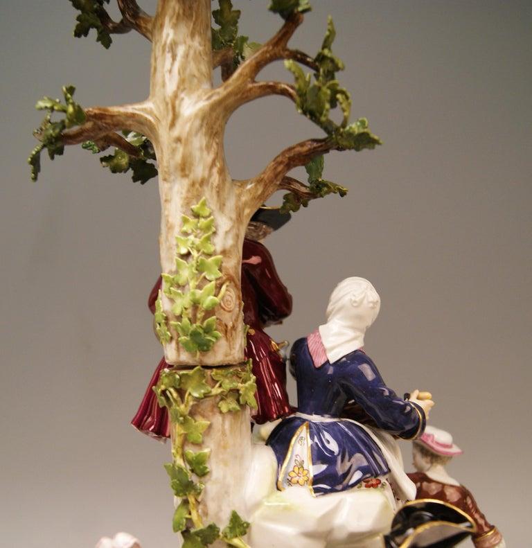 Porcelain Meissen Group Six Figurines Gardeners Musicians, Acier Model D 96, circa 1870 For Sale