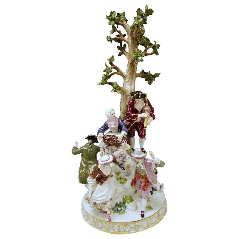 Meissen Group Six Figurines Gardeners Musicians, Acier Model D 96, circa 1870 For Sale