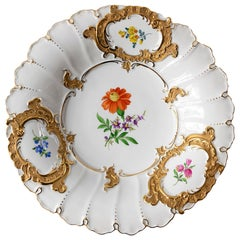 Meissen Hand Painted Gilded Large Deep Porcelain Plate