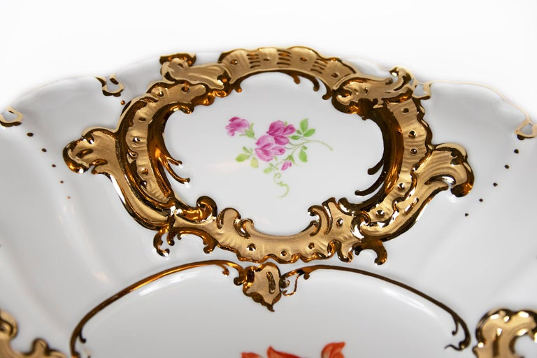 German Meissen Hand Painted Gilded Porcelain Plate For Sale