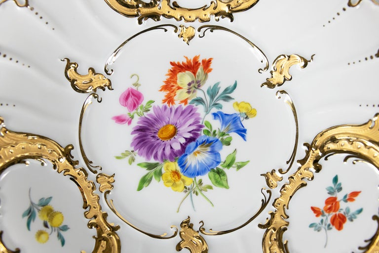 Gilt Meissen Hand Painted Gilded Porcelain Plate For Sale