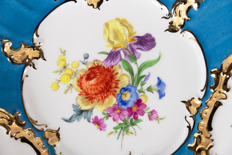 Gilt Meissen Hand Painted Gilded Porcelain Plate