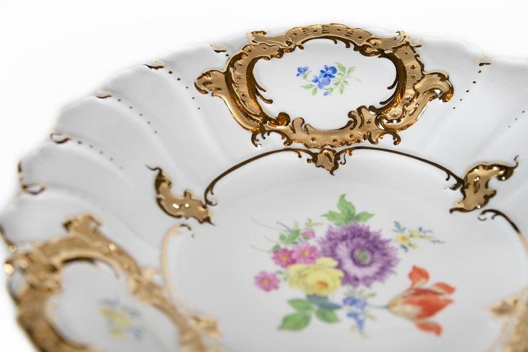 Gilt Meissen Hand Painted Gilded Porcelain Plate For Sale