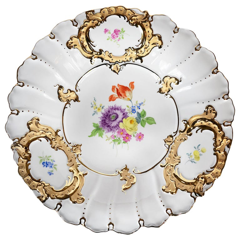 Meissen Hand Painted Gilded Porcelain Plate For Sale