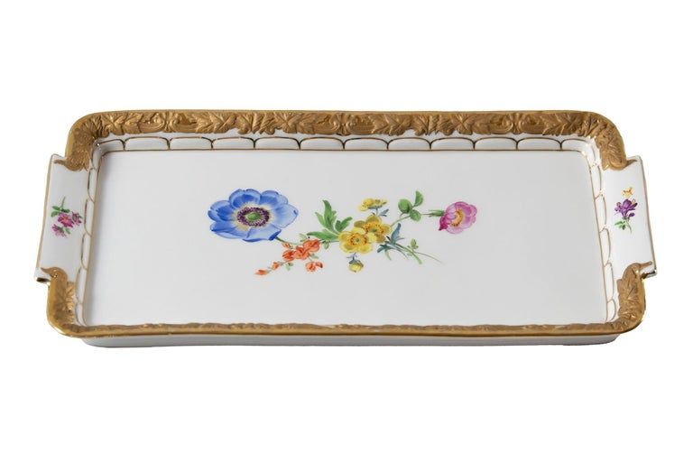 Meissen Porcelain plate/tray with hand painted floral motives and rich gold decor.