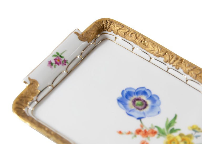 German Meissen Hand Painted Gilded Porcelain Plate/Tray For Sale